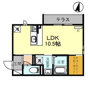 (仮)D-room上小松101号室 [1R]