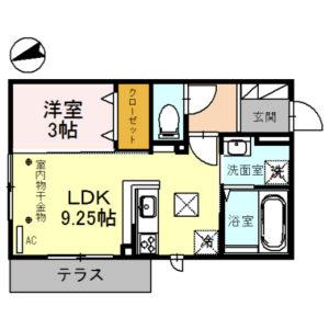 (仮)D-room育成町Ⅰ101号室 [1LDK]